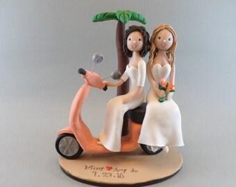 Same Sex Couple on Vespa Custom Beach Wedding Cake Topper