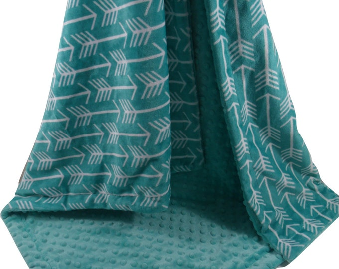 Teal Green Arrow Print with Matching Minky Dot Minky Baby Blanket, available in three sizesCan Be Personalized