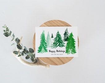 Personalized Holiday Card - Happy Holidays Card Set - Boxed Holiday Cards - Rustic Holiday Cards - Christmas Trees - Season's Greetings