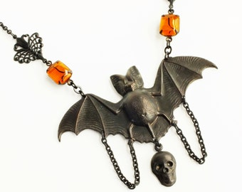 Large Statement Creepy Bat Necklace Pendant Orange Black Bat Jewelry Vintage Style Victorian Goth Jewelry