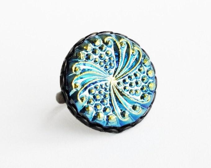 Iridescent Glass Ring Large Art Deco Ring Vintage Iridescent Peacock Glass Ring Art Deco Jewelry Statement Cocktail Ring Oil Slick Iris