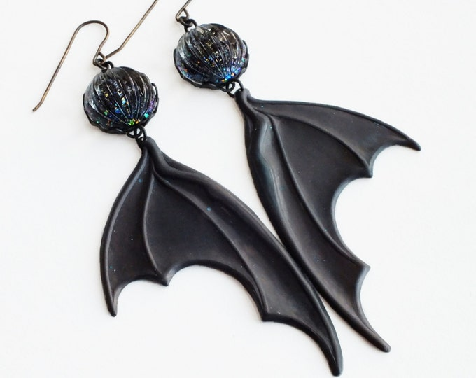 Bat Wing Earrings Large Black Wing Earrings Dragon Wing Earrings Black Oxidized Metal Earrings Statement Bat Jewelry Black Glitter