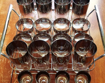 Metallic fade Silver/Platinum Barware Set 25 Pieces 24 Glasses & Caddy, Mid Century Modern Barware Set