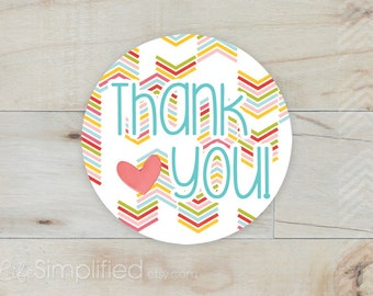 40 Thank You Stickers for Etsy Packagin in Rainbow Chevron with Heart - 2 inch Round