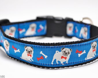 Fawn Pug on Blue Dog Collar / Blue Pugs / Boy Pug Dog Collar / Bow tie and Bones Dog Collar