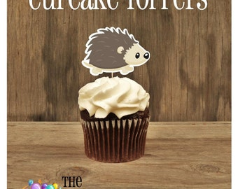 Forest Friends Party - Set of 12 Hedgehog Cupcake Toppers by The Birthday House