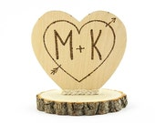 Personalized Cupid's Heart Rustic Cake Topper - 104127