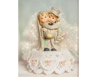 Vintage Applique Cute Hobo Wedding Cake Topper - Custom Painted Hair Color Available - 100445