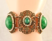 Vintage Green Peking Art Glass and Faux Seed Pearl Brass Tone Filigree Bracelet