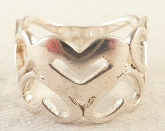 Size 8 Vintage Sterling Wide Band of Openwork Hearts Ring