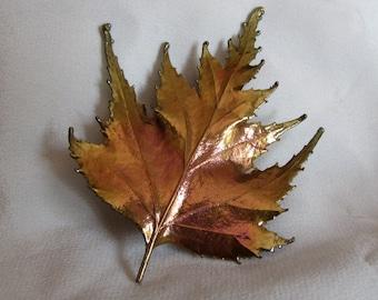 Vintage Iridescent Copper Leaf Brooch