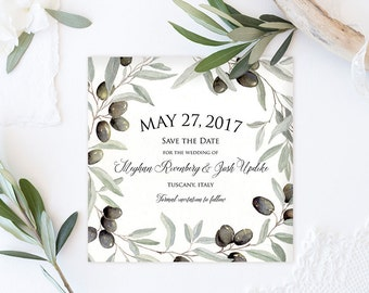 Sample - Tuscan Olive - Watercolor Save the Date Card - Italy Wedding