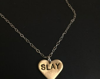 Slay Necklace, Formation, Flawless, Gold Heart Necklace, I Slay All Day, I Woke Up Like This, Brass Necklace, Bey, Graduation Gift, Stamped