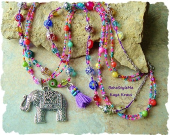 Bohemian Necklace, Boho Colorful Tassel Necklace, Elephant Pendant, Indie, Hippie, Bollywood, BohoStyleMe, Kaye Kraus