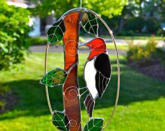 Red Headed Woodpecker Stained Glass Suncatcher Garden Art Father's Day