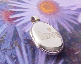 Engraved Sterling Silver Locket Love Locket