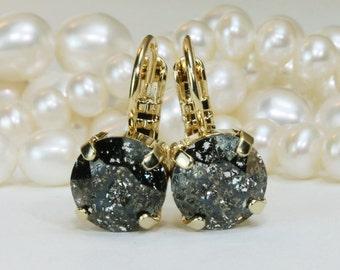 Black Gold Earrings Black Drop Crystal Earrings Black Patina Single Stone Earrings Black Swarovski Crystal Sparkly Earrings,Black Patina,GE2