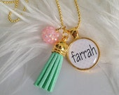 Personalized Pink and Aqua Tassel Necklace