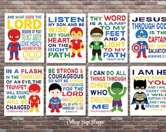 Superhero Art, Christian Superhero Art, DIGITAL, YOU PRINT, Scripture Superhero Art, Set, Boys Superhero Scripture Art, Superhero