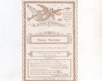 Antique Australian Mourning Card 1905 | In Loving Remembrance | Funeral Card | Memorial Card | Horace Mortimer