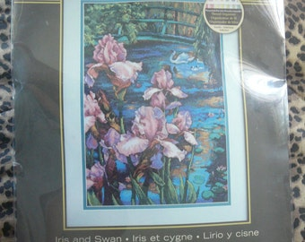 """NEW - """"Iris and Swan"""" from Dimensions Gold Collection - Cross Stitch Kit"""