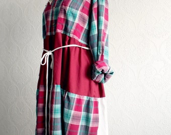 Plus Size Western Dress Women's Upcycle Cranberry Plaid Shabby Style Boho Chic Dress Loose Fitting Casual Clothing Eco Friendly 1X 2X 'KEELY