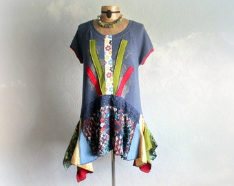 Colorful Boho Shirt Lagenlook Clothes Blue Hippie Tunic Layered Draped Upcycled Clothing Women's Festival Top Art To Wear Shirt M L 'PHOEBE'