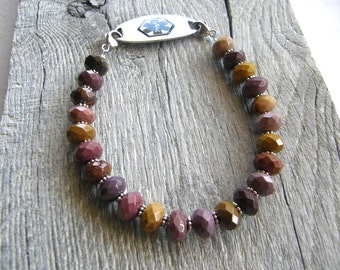 Mookite Jasper Medical ID Bracelet, Maroon and Mustard Mookaite Alert Bracelet, Double Clasp Replacement Bracelet