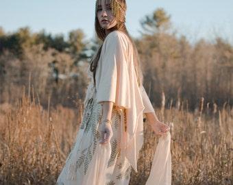 The Gown || Organic Wedding Dress, bohemian bride, free spirit, wanderlust bride, natural bride, organic wedding, gold || by Simka Sol®