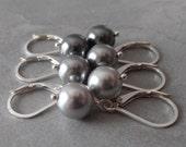 Gray Pearl Earrings, Simple Pearl Dangle, Grey Bridesmaid Earrings, Minimalist Wedding Jewelry,  Swarovski Pearl Earings Sterling Silver