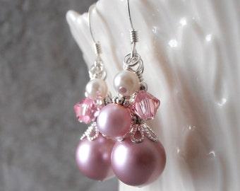 Rose Pink Bridesmaid Earrings Pink Pearl Cluster Earings Spring Wedding Jewelry Sterling Silver Earwires  Swarovski Pearl Bridesmaid Jewelry