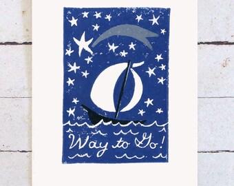 Sailboat Graduation Card Way to Go!