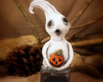 Mr. Ghostie  - Handmade Paperclay Art Doll