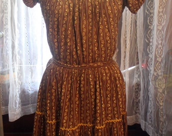 Gypsy Earth Goddess dress- Brown calico floral with rick rack Large skirt and blouse Set