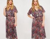 Vintage 70s Sheer FLORAL Dress BLOUSON Midi Dress Secretary Dress Boho Dress