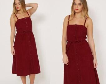 Vintage 70s Maroon CORDUROY Dress HIPSTER Dress Vintage JUMPER Dress Sleeveless Belted Midi Dress