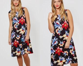 Vintage 80s TROPICAL Floral Sun Dress HAWAIIAN Floral Summer Dress Sleeveless Shift Dress Hipster Dress