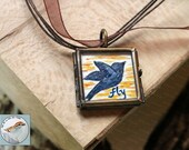Bird Necklace Mini Art Painting in Locket original wearable art modern miniature acrylic on paper in brass locket gift for her Free Shipping