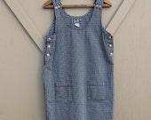 90s vintage Black and White Plaid Overall Denim Jean Dress / Plaid Denim Jumper / No Excuses