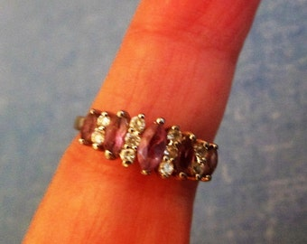 RING  - AMETHYST -  CZs - Estate sale - 925 - Sterling Silver - size 7 1/4  purple 371
