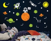 Astronaut Space Wall Decal set - moon stars UFO sun planet and rocket - boy bedroom space theme nursery - new design 2016