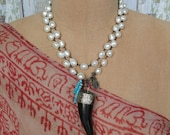 PEARLS with HORN NECKLACE, yoga, boho, tribal