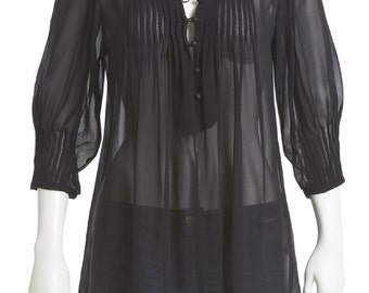 100% Silk Chiffon Blouse - Black