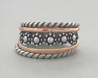 Stacking Rings . stackable mixed set of knuckle rings, thumb rings, midi rings or regular rings