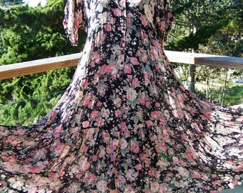 80s Dress Romantic Black floral garden maxi size M / L