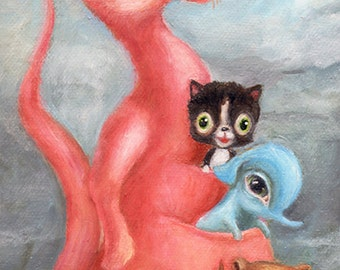 Pink Kangaroo Illustration, Big Eye Art, Pop Surrealism, Print for Nursery