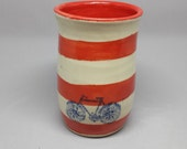"Red Striped Tumbler with Bicycle-Wheel-thrown tumbler with white stoneware pottery clay-Dishwasher Safe - 5"" x 3.5"" - Other colors availale"