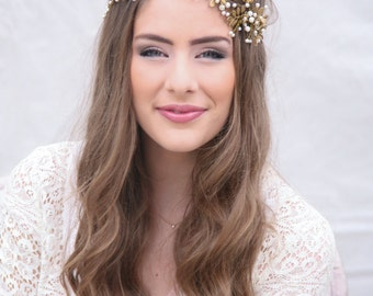 Wedding Hair Vine, Brass Flower and Leaf Bridal Headpiece, Wedding Hair Accessory, Grecian Hair Rustic Wedding Headband