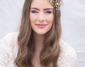 Wedding Hair Vine, Brass Flower and Leaf Bridal Headpiece, Wedding Hair Accessory, Grecian Hair Rustic Wedding Headband