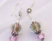 Handmade Lampwork OLIVE & LAVENDER EARRINGS Sterling and Bali Silver Dangle OoAK